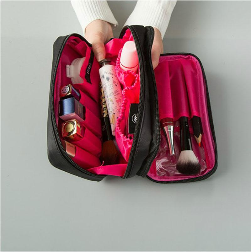 الأزياء حقيبة مستحضرات التجميل PU السيدات جلدية المحمولة زيبر حقيبة التخزين سعة كبيرة الجمال كيت السفر حقيبة التخزين الساخن