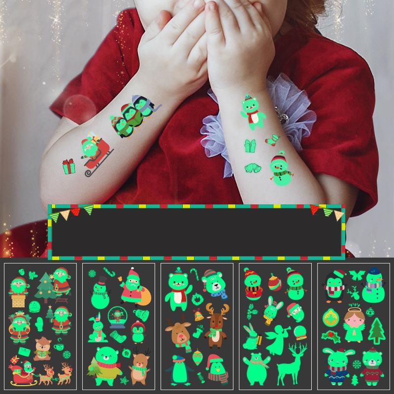 Fiesta de Carnaval de Navidad Decoración luminosa del partido pegatinas tatuaje temporal Decoración Decoración de Navidad