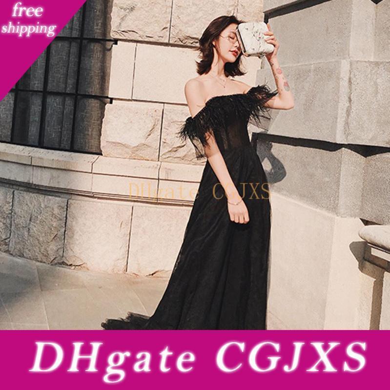 New Black Tulle Robes de soirée avec une plume Sexy Encolure Prom robe de soirée formelle de soirée Celebrity Robes spéciale