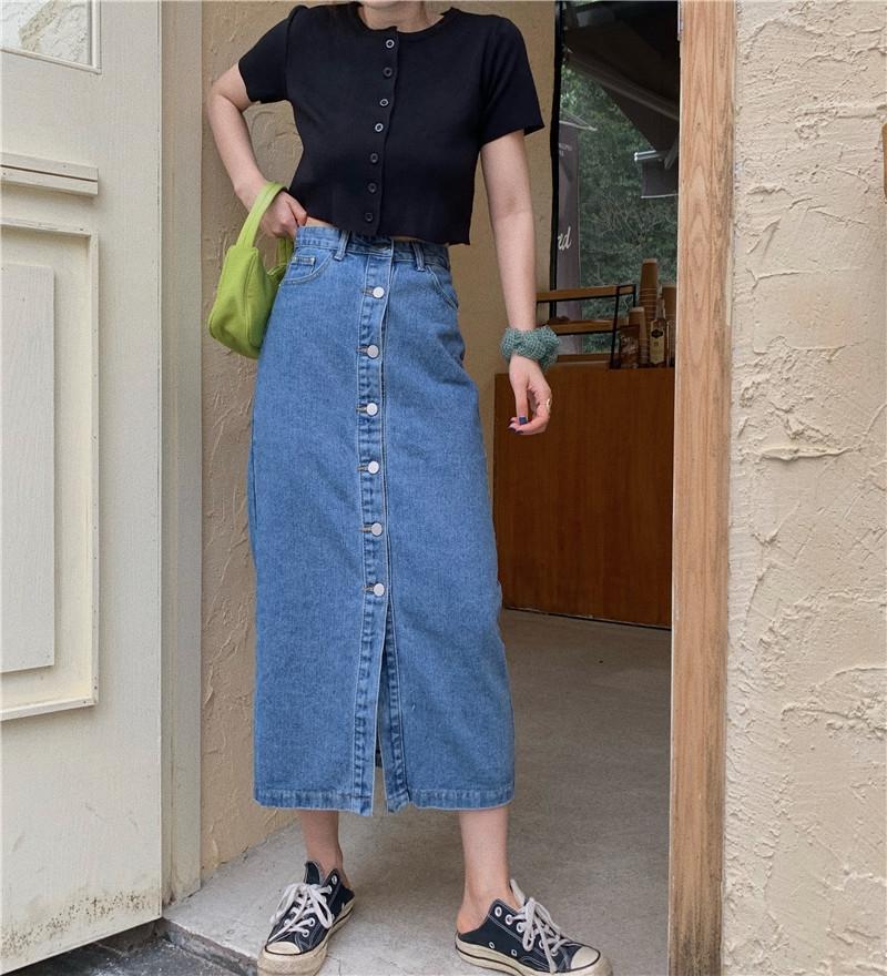 giLMg été divisé nouvelle taille haute tout jupe denim correspond Riyifan denim mi-longueur simple boutonnage pour jupe