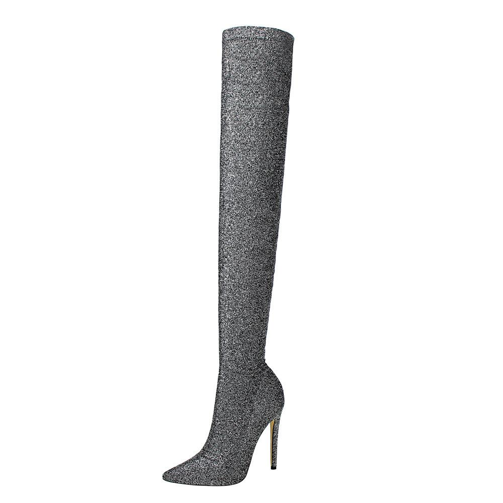 Meriahzheng moda Ultra-High tacco panno paillettes lucido locale notturno di dimagramento sexy Over-the-knee Boots DS-125-2