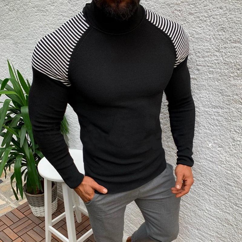 2020 Süveter erkekler Kazak Süveter Casual Erkek Örme Giyim Artı boyutu Sonbahar Wineter Turtleneck Slim Fit Sıcak Tops