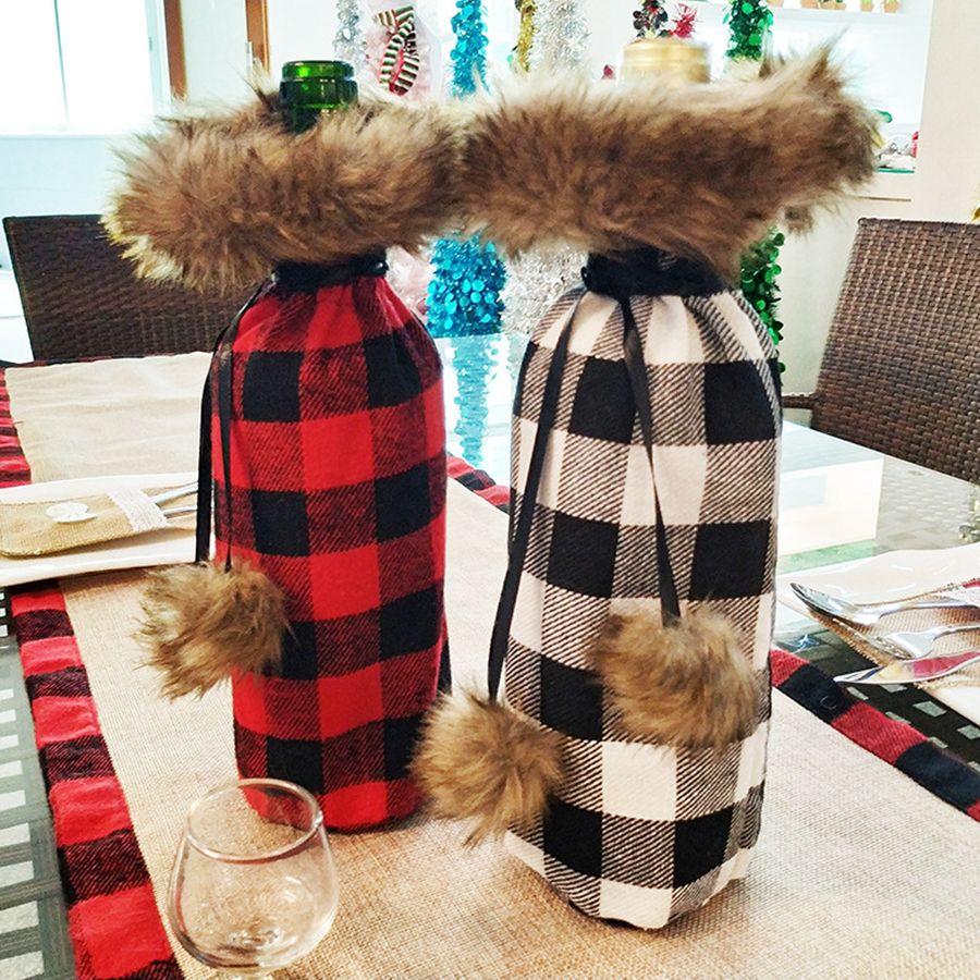 A cuadros botella de vino del bolso de la cubierta botella cena decoración de la tabla del vino de Navidad Negro Rojo Tapa ropa de Navidad Decoración OOA8325