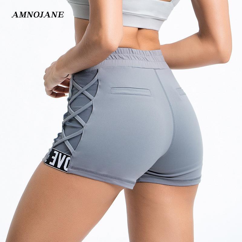 SideCross malla apretada atractiva del motorista Yoga Pantalones cortos corrientes de las mujeres de alta cortocircuito de la cintura polainas Gimnasio Fitness Workout Deportes Deportiva Pantalones cortos
