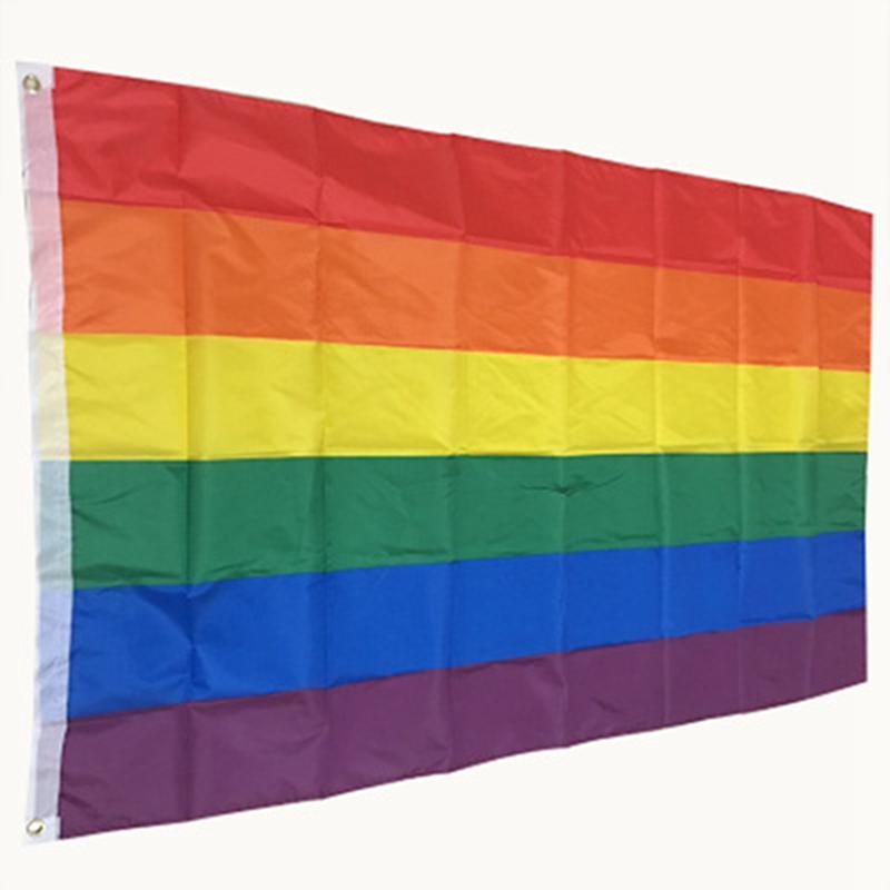قوس قزح العلم 3x5FT 90x150cm المثليين الكبرياء البوليستر LGBT راية العلم البوليستر ملون قوس قزح العلم للديكور IIA461