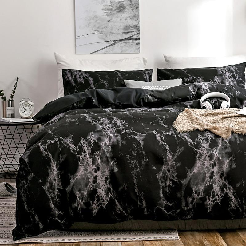 set stampato 30 2 / 3pcs biancheria da letto di marmo completi letto bianco nero dimensione copripiumino europea Re Regina Quilt Cover Consolatore