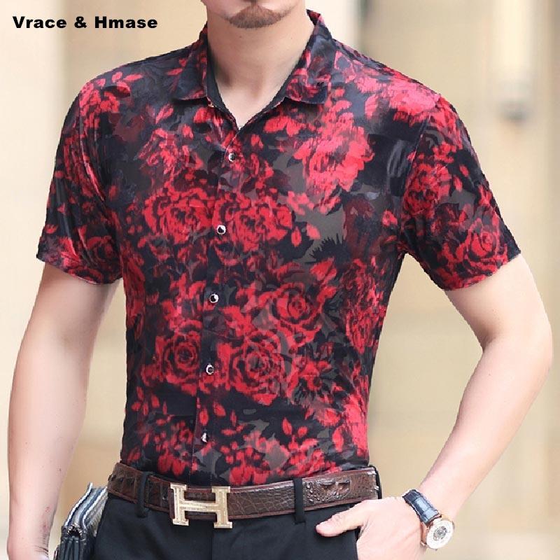 camisa de manga corta impresión del patrón de flor roja de la moda de estilo chino de seda verano suaves huecos camisa de calidad transpirable hombres M-XXXL