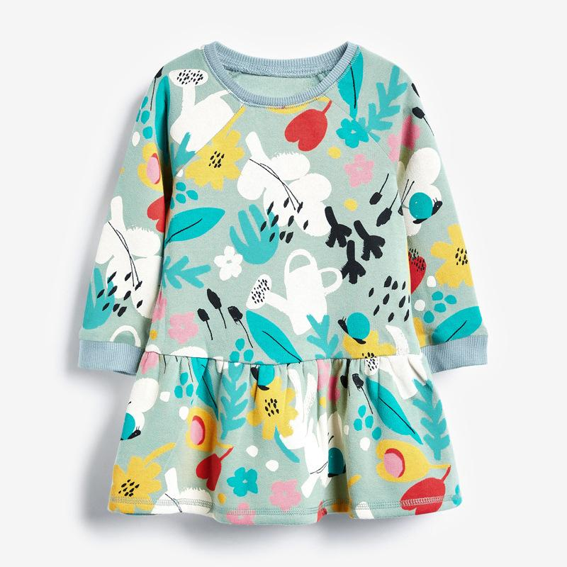 дети ребенок девочки осень весна длинный рукав Graffiti платья малыша длиной до колен платье европейского и американского стиля одежды 18М-6Y