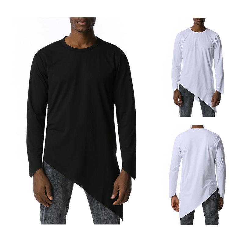 Нерегулярное Split T Shirt Мужчины осень Mens Harajuku Hip Hop косплей Танец Tshirts Casaul Сыпучие Fit Solid Color Tee Shirt Homme