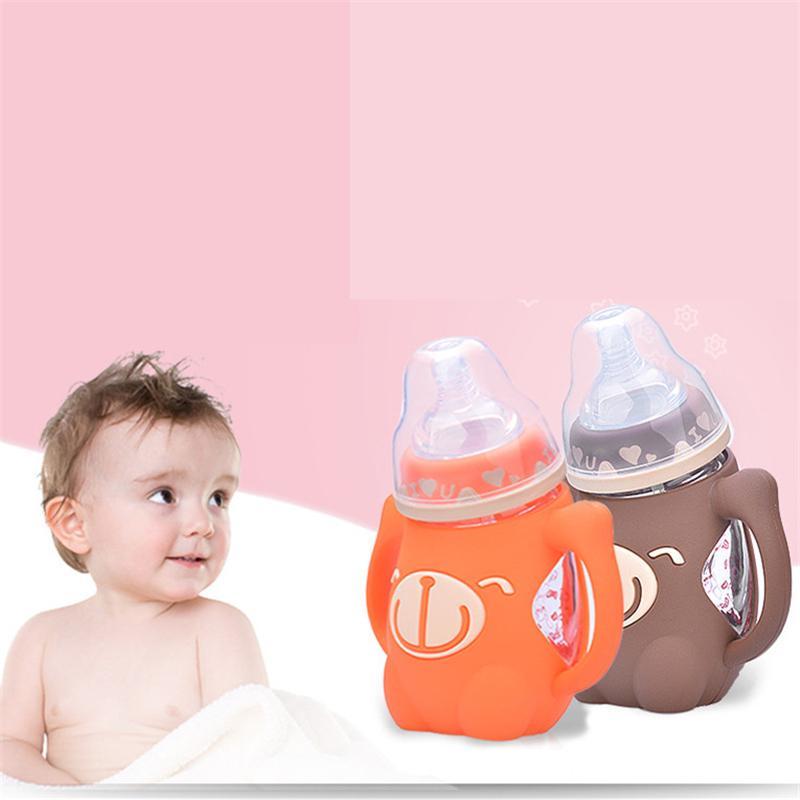Sevimli Bebek Şişe Güvenli Silikon Süt Şişesi Kolu Yumuşak Ağız Yenidoğan İçecek Eğitim Besleme Şişesi