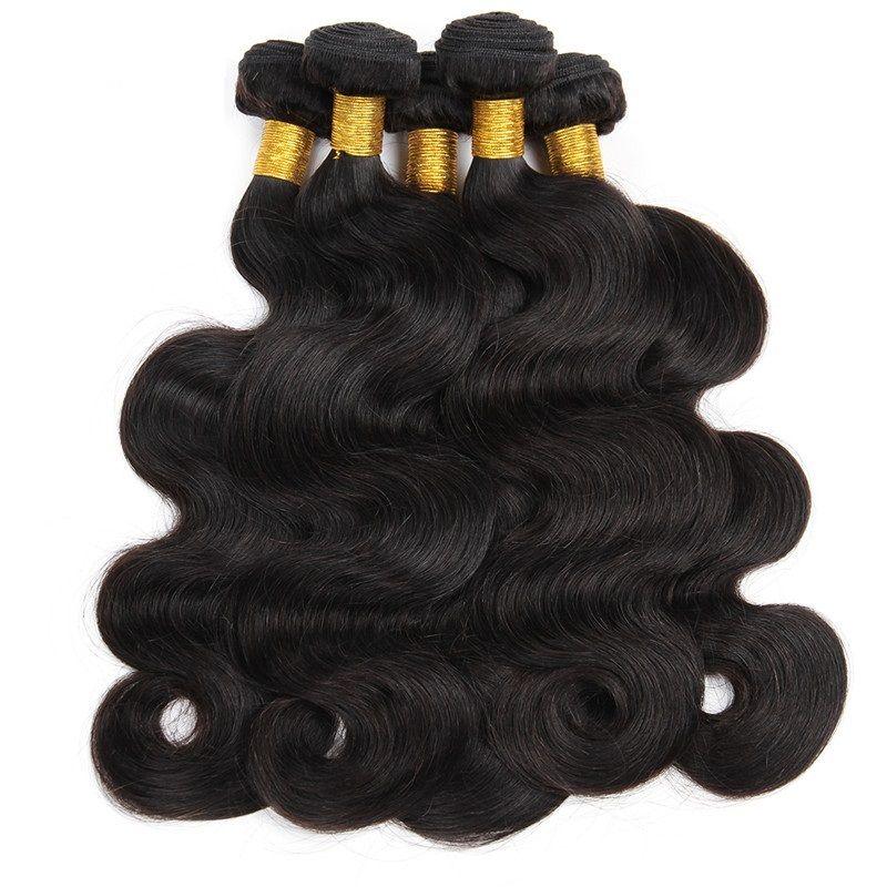 wholesale brazilian body wave human hair bundles 1kg 10Pcs Lot non-remy grade Human hair extensions weave natural black color