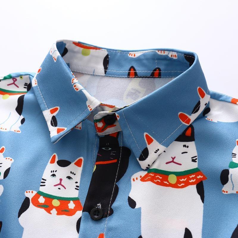 Harajuku стиль 2020 весна нового кота печатной рубашка с длинными рукавами студент женщиной мультфильма повезла кошку рубашки
