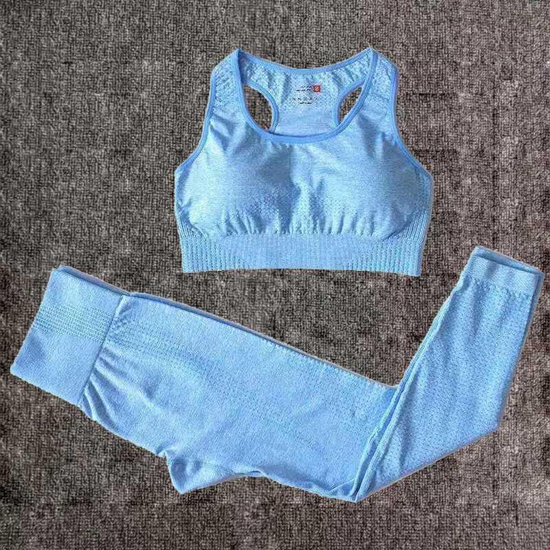 Yoga Outfits 2PCS Vital Seamless Set Women Fitness Clothing Sportswear Woman Gym Leggings+Padded Push-up Sports Bra Running Suits