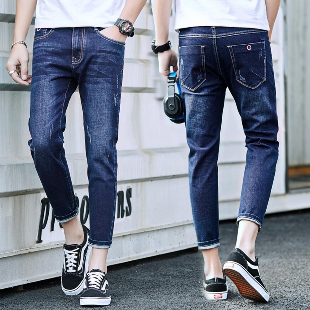 XToh3 2020 Nueve de nueve pantalones de mezclilla marca Capris moda nueva primavera moda estilo coreano del todo-fósforo recortada pantalones cortos de los hombres del mono