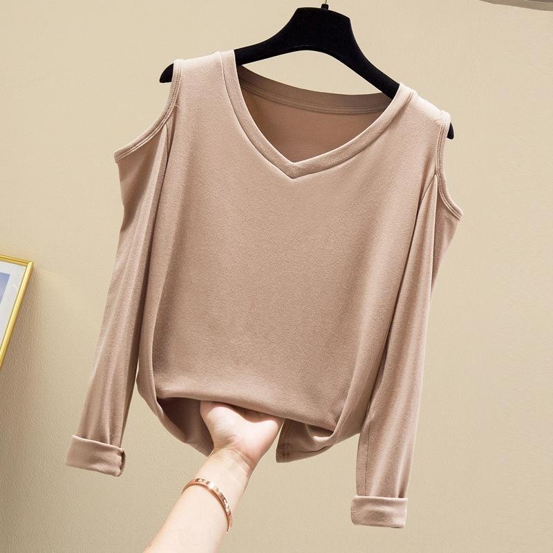 Gx7bu Sexyshoulder с длинным рукавом 2020 Осень T- куртка Новый V-образный вырез футболки база рубашка модная пригонки нишу дизайн куртка для женщин