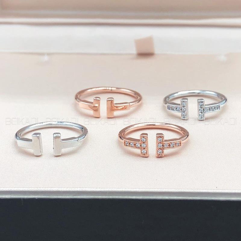Doble abierto Luz japonesa Luz de lujo Celebrity Niche Sterling Silver Silver Silver 18K Rosa Oro Pareja T anillo de familia para mujeres