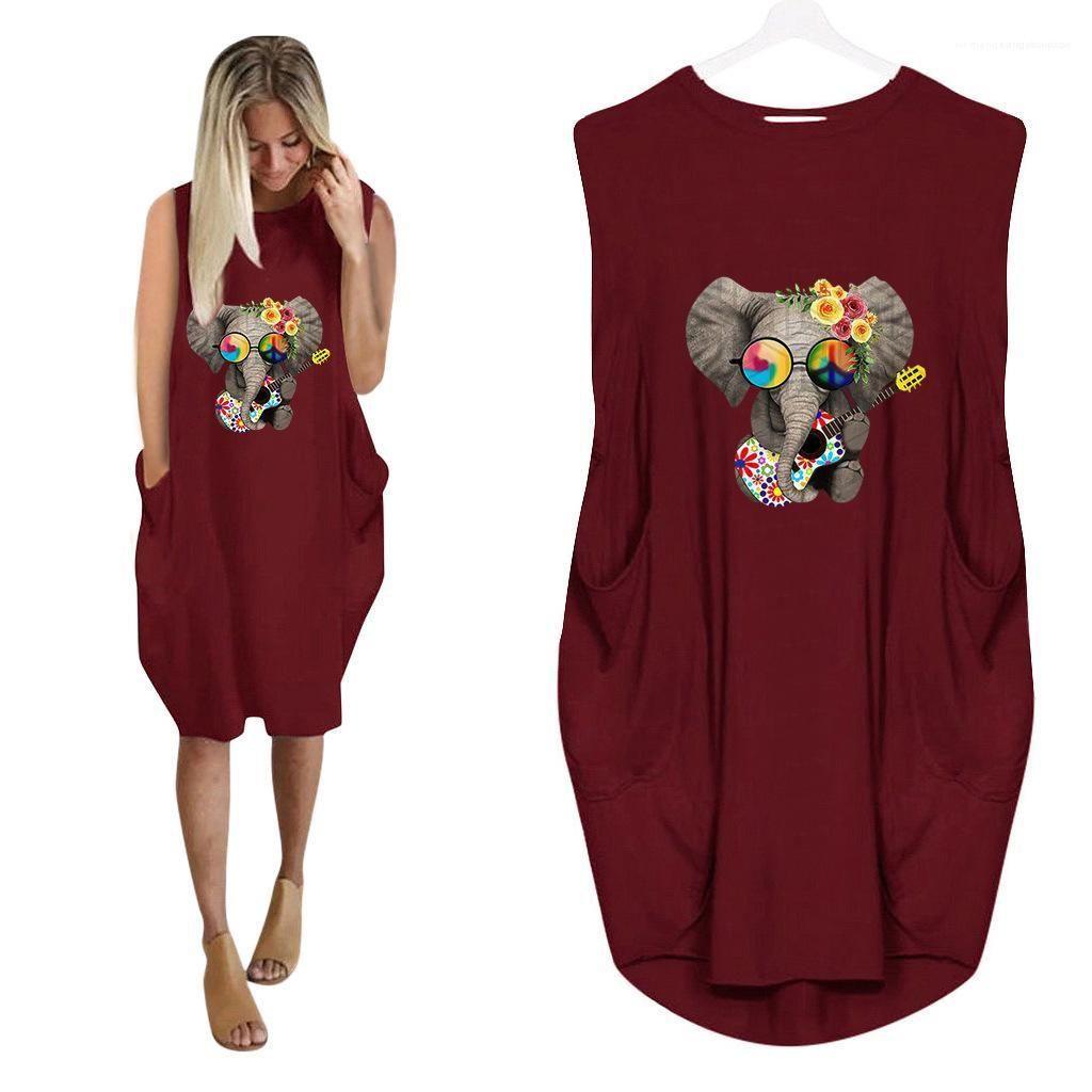 Robes Elephant 3D Print Robe d'été Mode Femmes précarisés Vêtements grande taille en vrac des femmes Designer T-shirt