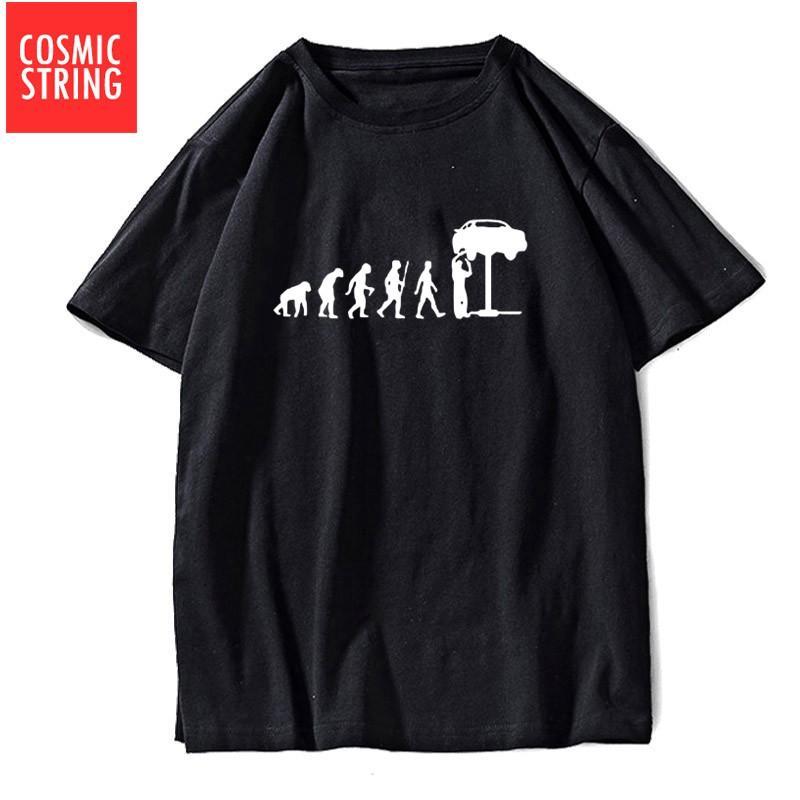 COSMIC STRING Hülse Kurz reine Baumwolle fix das Auto Druck Männer T-Shirt lose beiläufige Männer T-Shirt Oansatz Street T-Shirt T-Shirt