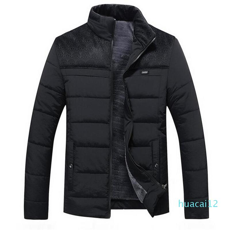Hot Sale Designer Mens Winter Jacket New Plus Cashmere Blouson Homme Male Stand Collar Business Coat Keep Warm Thick Splice Cotton clothing