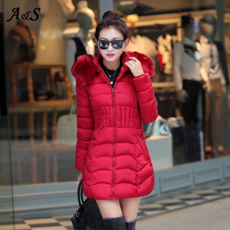 겨울 자켓 여성 긴 파카 모피 칼라 여성 겨울 코트와 복어 재킷 여성 코트 캐주얼 슬림 아웃웨어 롱 코트 여성
