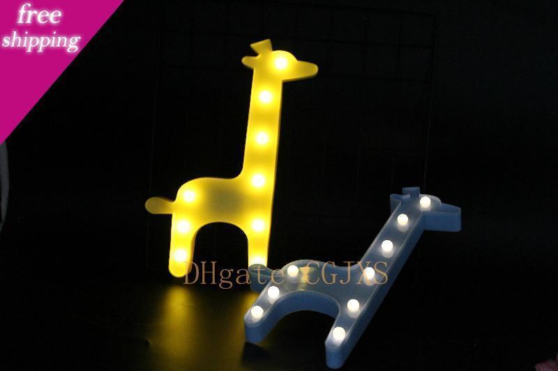 Ins de dibujos animados del unicornio llevó la luz de la noche del flamenco Cactus noche de la estrella de los niños de luz de lámpara de la jirafa de los ciervos Amor de la Navidad Hada del ángel de la tabla Dropshipping
