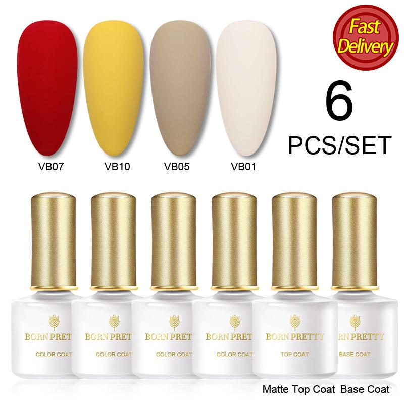 BORN PRETTY 6Pcs/Set Color Gel Nail Polish with Base Matte Top UV Led Gel Nail Art Varnish Hybrid Soak Off Paint