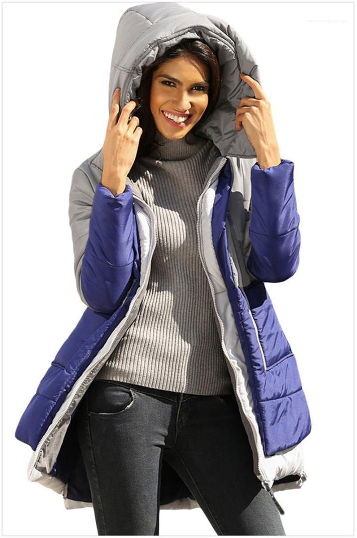 Parkas Fashion Panelled Zipper Warm Winter Jacket Casual Long Sleeve Warm Coats Womens Spell Color Designer
