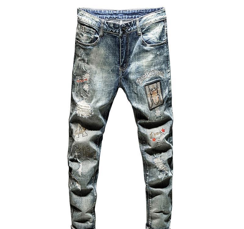 patchwork ricamo Sokotoo uomini di jeans strappati di moda d'epoca blu insetti fori ricamati sottili pantaloni denim diritto