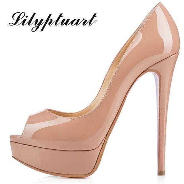 Sexy Peep Toe Plataforma estilete O deslizamento das mulheres no Super High Heel Bombas vestido de festa de casamento Shoes 12cm sapatos dedo aberto 0922
