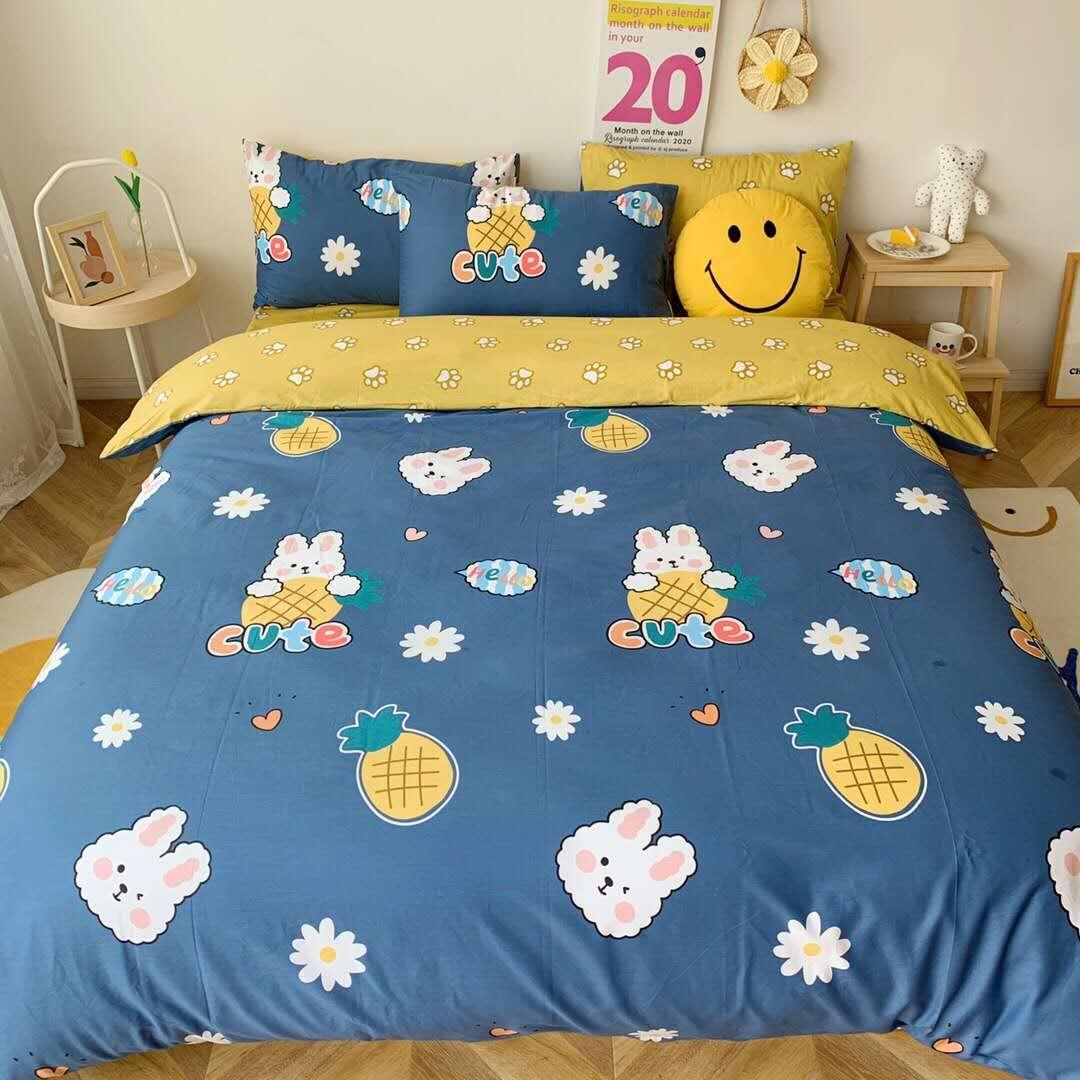 New Cartoon Printed Bedding Sets Cotton Breathable Soft Duvet Cover Set Twin Queen Size Quilt Cover Bed Sheet Pillowcases