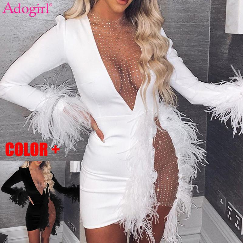 Abito Adogirl Paillettes Sheer Mesh Patchwork Feather vestito delle donne sexy profondo scollo a V a maniche lunghe aderente Mini Night Club Partito Outfit T200810