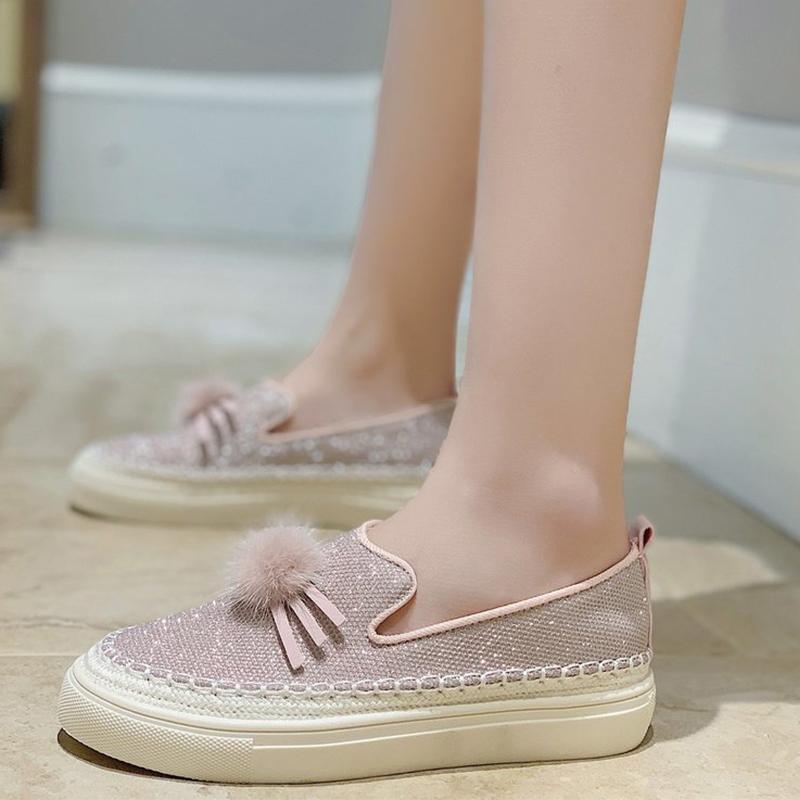 MCCKLE Chaussures Femmes Flats bling automne femme Tassel tissu pailleté Plateforme Mode Femmes Chaussures Casual Femme Flats Plus Size