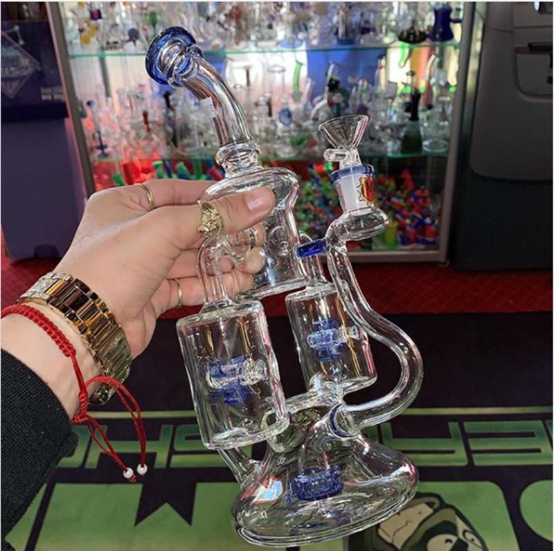 """8.7 """"Tuyaux d'eau en verre bleu vert violet épaisseur recylser en verre de verre bécher de bécher avec deux couches filtrant fusée de fusée de refusion en rotation du windmi"""