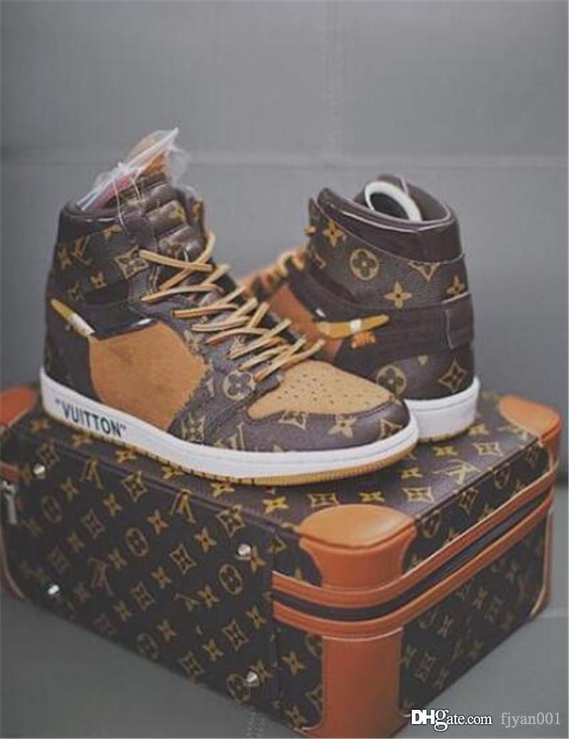 Fsat DHL Expédition ETEINT brwon noir 1 Chaussures pour de basket-ball de 1s trois luxe de chaussures baskets mode limité de formateurs de sport avec une valise