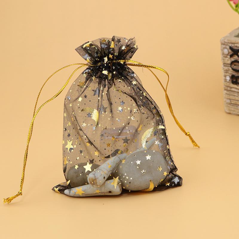 100pcs 7x9cm Drawable Organza Bags luna della stella di colore nero Wedding Bag regalo di Natale gioielli Packaging Borse Sacchetti