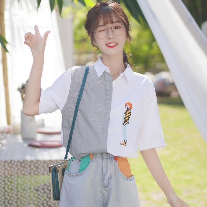 1xAXe MblR3 2020 neues koreanisches Stil Design gestreiften Kurzarm-Student Hemd oben weiblichen gestickte Stickerei asymmetrischen halbe Hülse Herbst