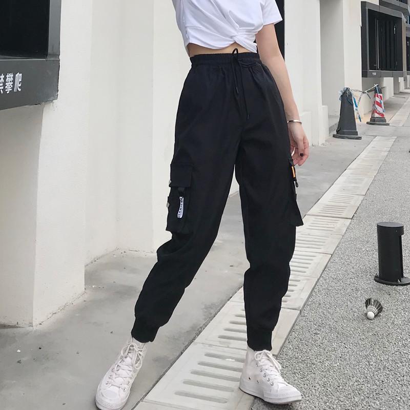Grande caliente bolsillos cargo pantalones mujer pantalones de cintura alta flojo Streetwear holgado pantalón táctico corredores hip hop de alta calidad pantalones LJ200818