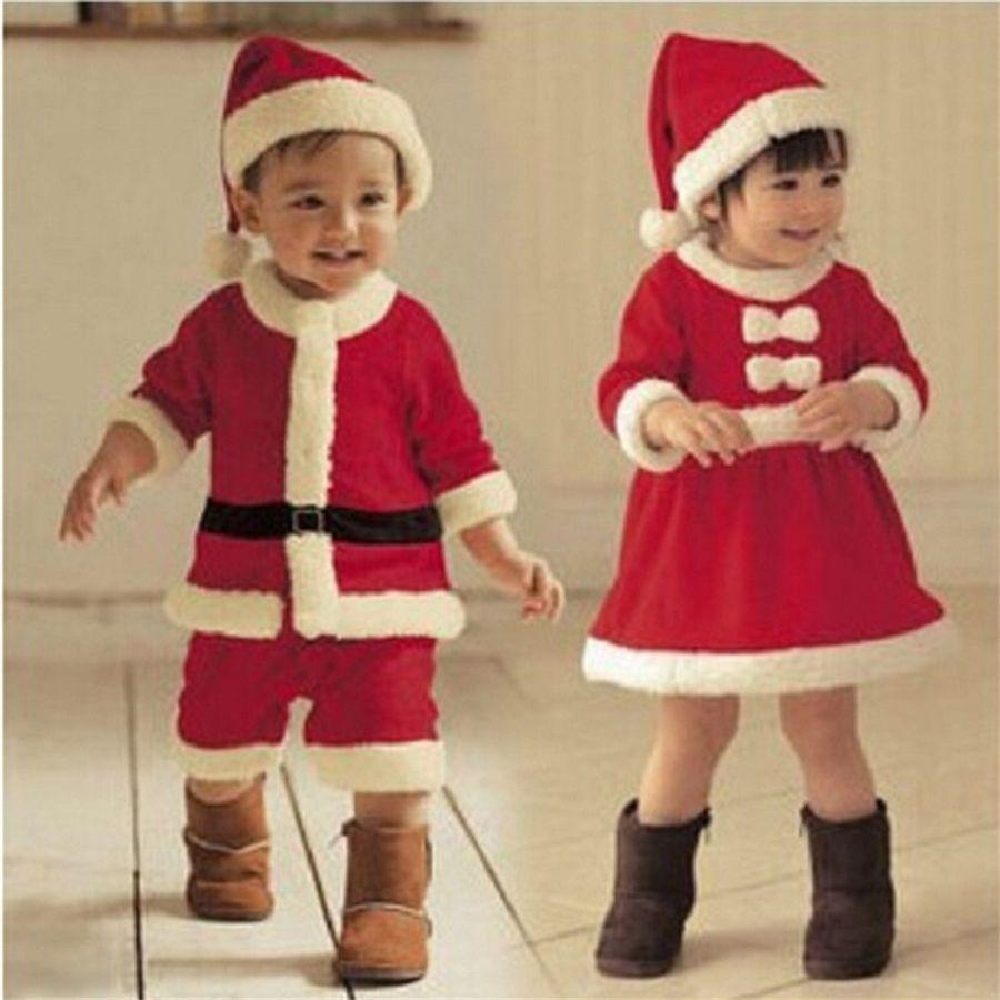 Талисман рождественские детские одежда Санта-Клаус костюм детские мальчики с длинным рукавом одежда ребенка малыш девочек платье милые младенческие зима платье