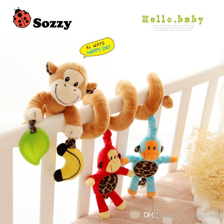 Infant Bed Around The Friut Hanging Rattle Toy Musical Cartoon Baby Cute Plush Animal Toy Spiral Wrapped Crib Hanging Baby Gift