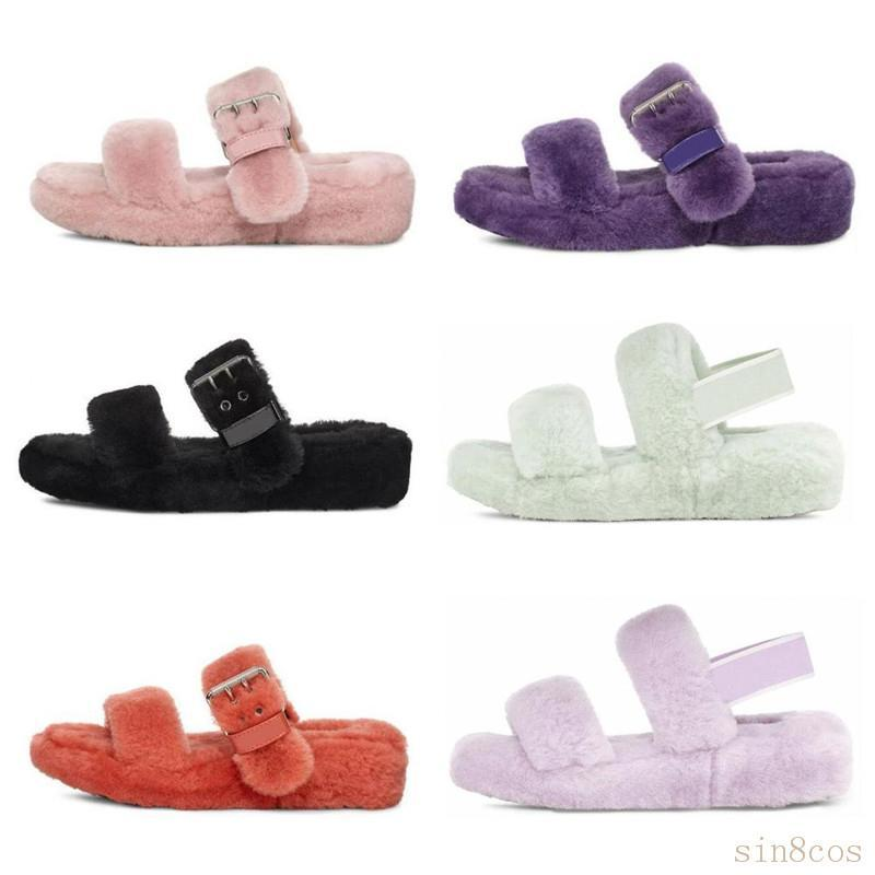 2020 Nouvelle Australie peluches oh oui des femmes de diapositives mode casual fourrure faux moelleux pantoufle hiver fuzz pantoufles femmes sandales vison fourrure tIKc #