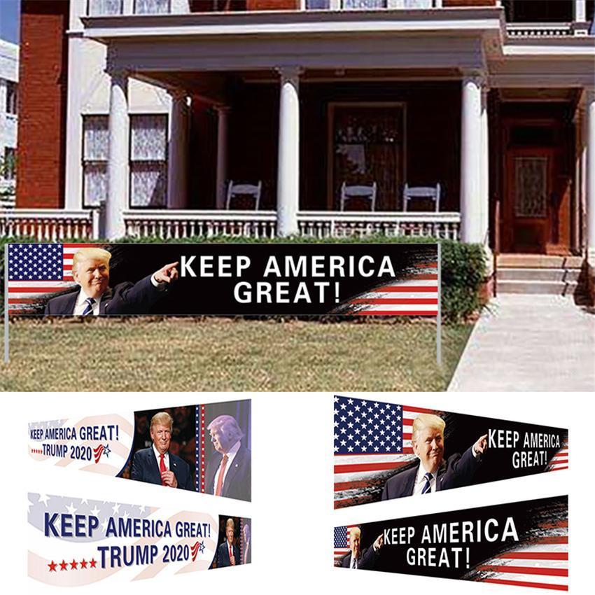 US-Aktien halten Amerika Great Fahne 296x48cm Trump 2020 Präsidentschaftswahlen Banner Trump Kampagnenflagge DHL Versand