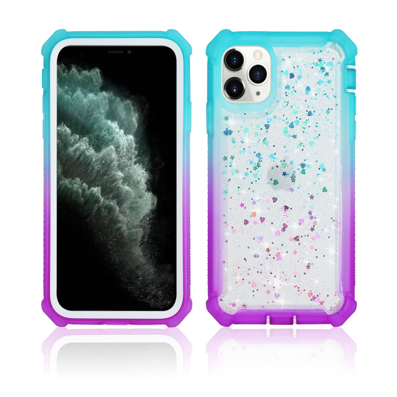 Pour Samsung A71 A51 A21 A31 5G A21S A11 A01 A91 A81 A20 A10S A20S A10E A70 Glitter Étincelle Bling Full Body 4 coins de protection Cas de téléphone