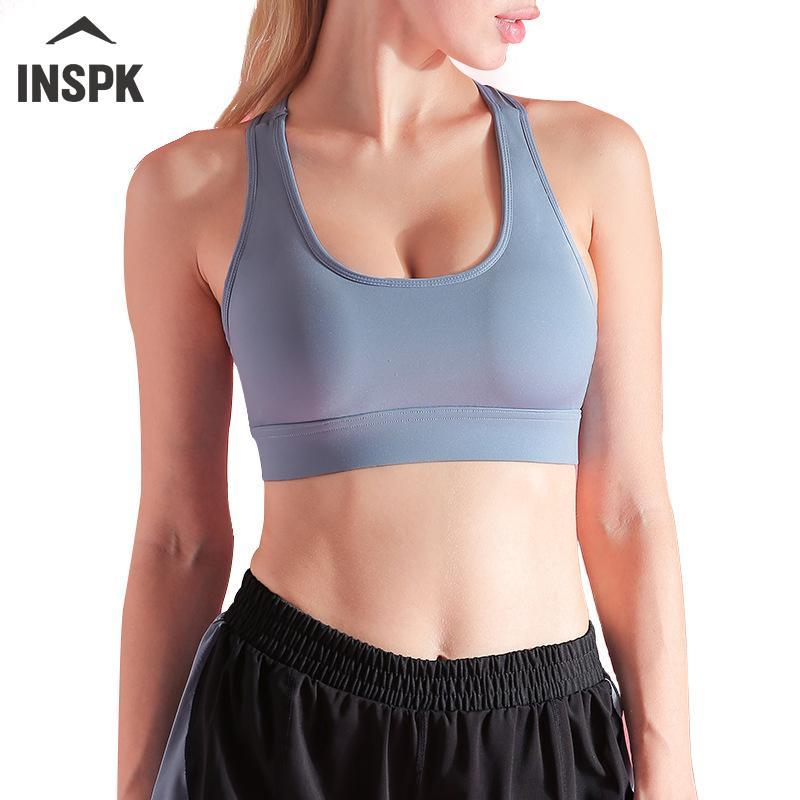 Biancheria intima INSPK Sport per la donna, blu / viola / nero / rosa di nylon di yoga del reggiseno fitness, mesh traspirante Palestra intima XL