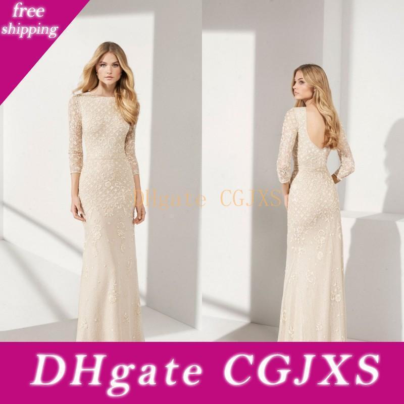Elegante Madre della Sposa Abiti a maniche lunghe Jewel Madre S abiti di pizzo di Applique Piano Lunghezza Prom Dresses formali