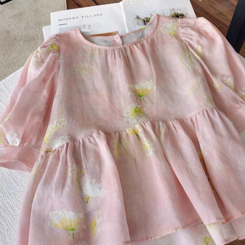 Hz6qa Hrq0p kabarcık yenilikçi çamaşırları bayanlar Fransız boyun kazak Kazak Bebek gömlek 010.625 kollu puf bebek gömlek yuvarlak niş tasarımı