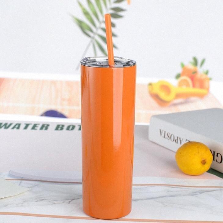 Kalte Straw Auto Trinkflasche aus rostfreiem Stahl Tumbler dünne Schalen Weinflasche Gerade Insulated Vakuummaschine Insulated DHA704 1Z6W #