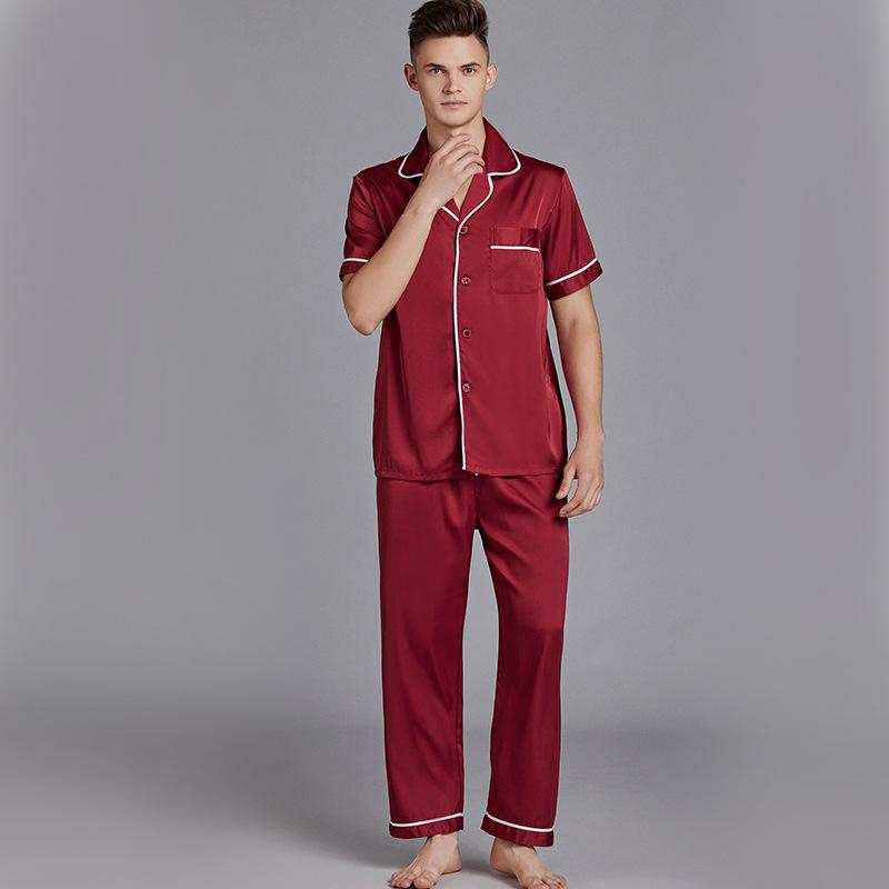 2021 Red Men Sleep Set Sexy Male Casual Nightwear Shirt&Pants Satin Silky  Sleepwear Intimate Lingerie Summer New Home Clothing From Jilihua, $31.93    DHgate.Com