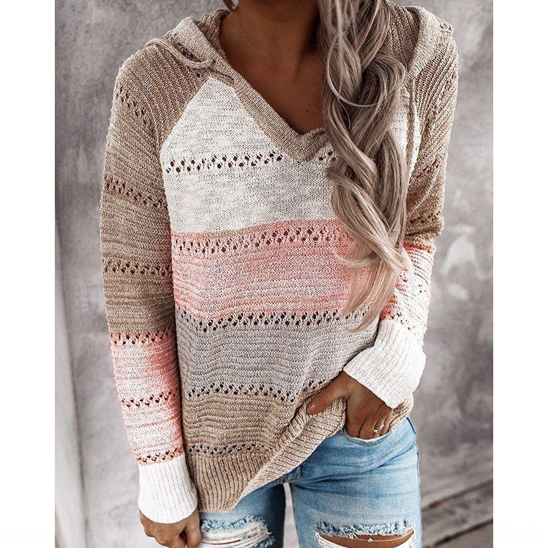 qKGJv outono 2020 e inverno New multi-color pulôver camisola das mulheres costurando camisola moletom com capuz
