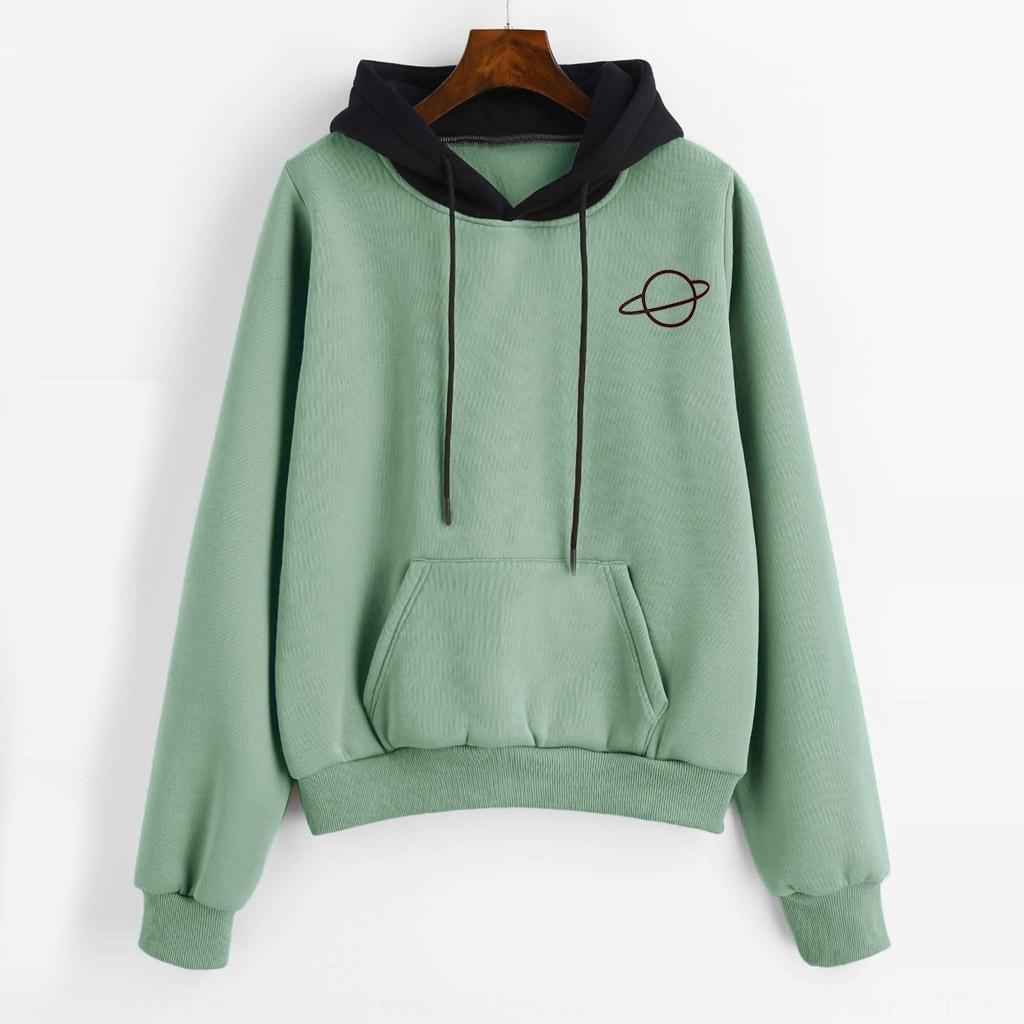 rtHNh espesado otoño impresión de las mujeres que espese manga larga con capucha de color inserta 2019 otoño inserta colores de impresión suéter con capucha 2019