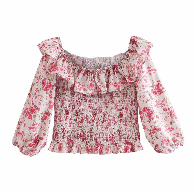 2020 Damen-Blusen Shirts Sommer Bucolic Stil gedruckt er ancients Lotus Blattrand kleine gebrochene Blumenhemd ein Wort Kragen Tau Schulter